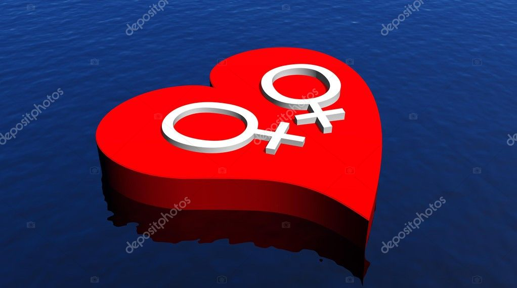 White venus symbols symbolizing a lesbian couple  in red heart floating in the ocean  Stock Photo #2149628