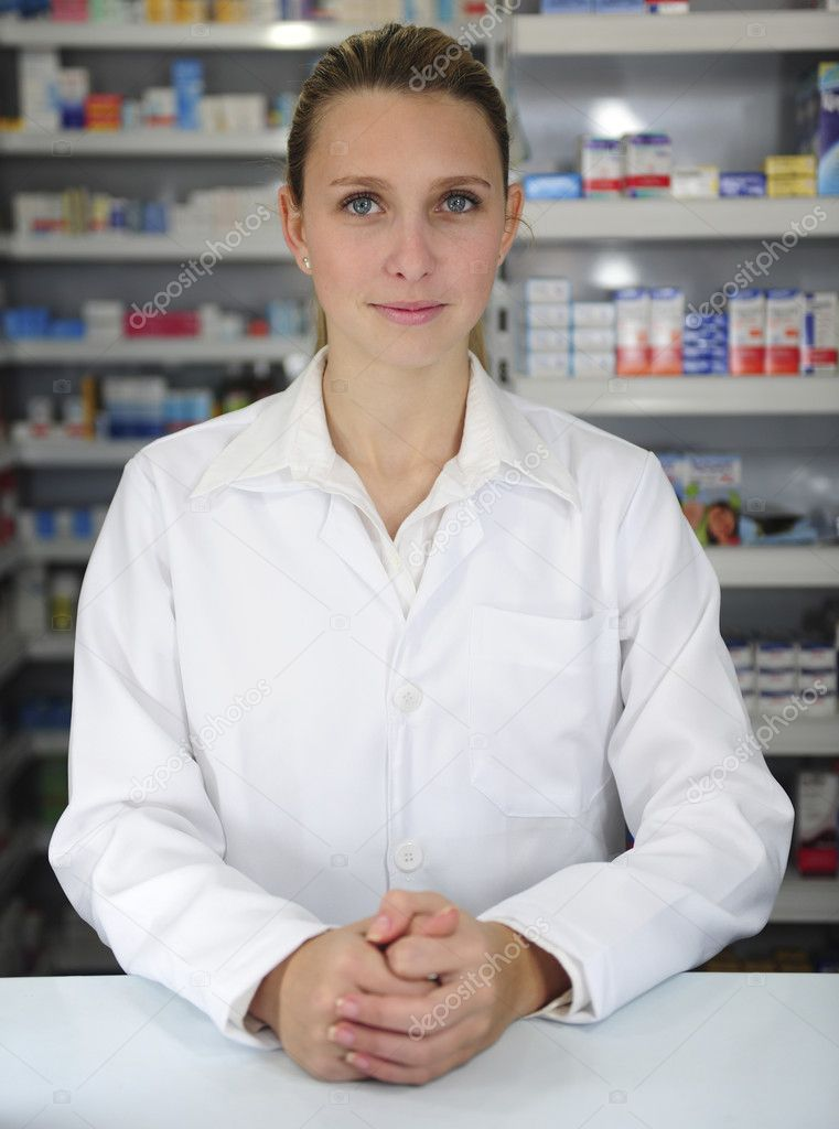 Portrait of a female pharmacist at pharmacy  Stock Photo #2106758