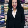 Stockfoto: Happy owner of a fabric store