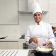 Chef cooking a tasty risotto — Stock Photo