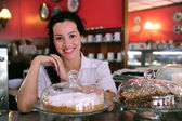 Owner of a small business store cafe — Stock Photo