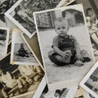 Childhood: stack of old photos — Stock fotografie