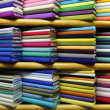 Colorful fabrics on sale — Stockfoto
