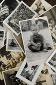 Childhood: stack of old photos — Stockfoto