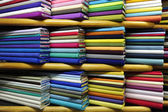 Colorful fabrics on sale — Stock Photo