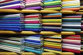 Colorful fabrics on sale — Stock Photo