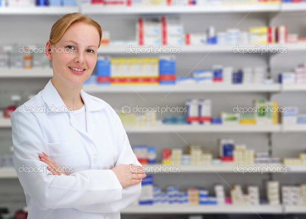 Portrait of a female pharmacist at pharmacy — Stock Photo #2282107