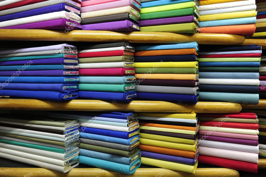 Colorful fabrics on sale  Zdjcie stockowe #2284421