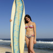 Attractive sufer girl holding her board — Stock Photo
