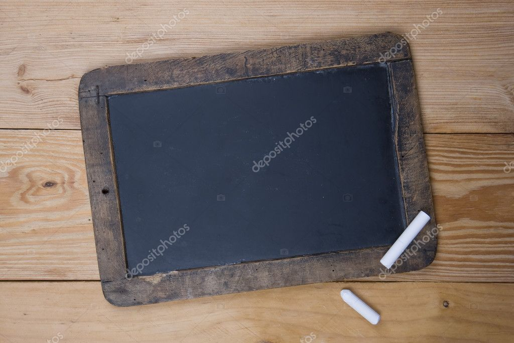 An old blank blackboard and white chalk — Stock Photo #2156516