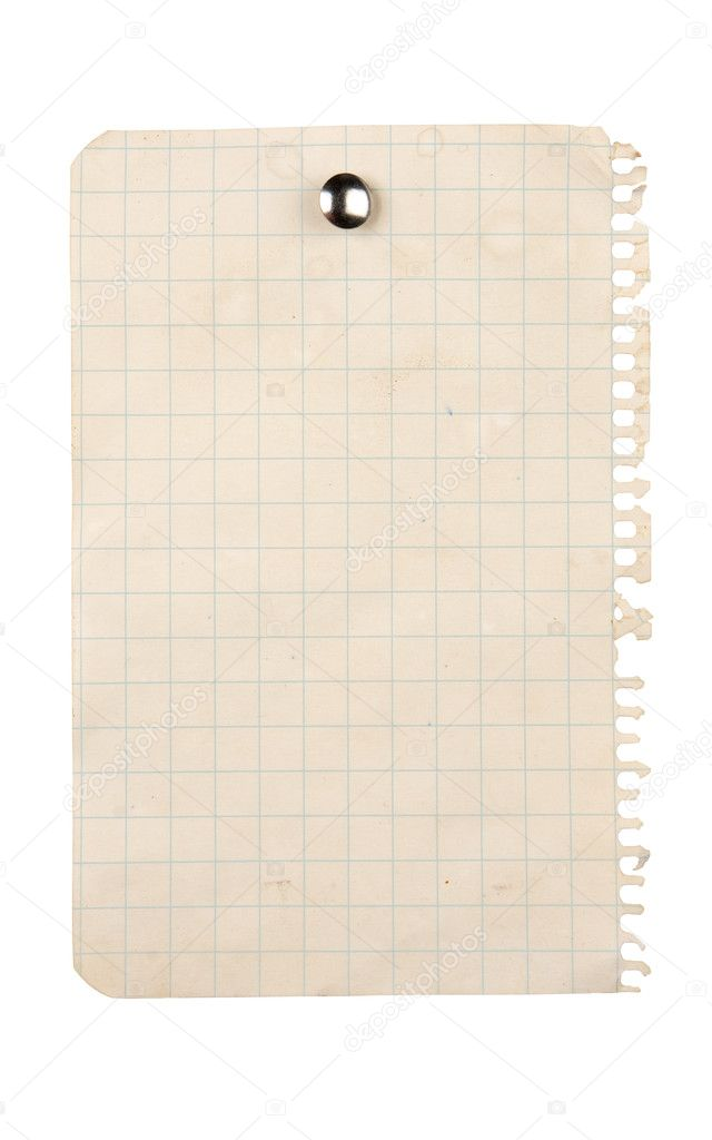 Aged sheet of paper pinned with a thumbtack  Stock Photo #2156589