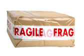 Package with Fragile tape — Stock Photo