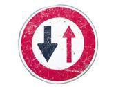 Prioritet att mötande trafik skylt — Stockfoto