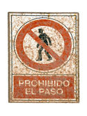 No pedestrians spanish traffic sign — Stock Photo
