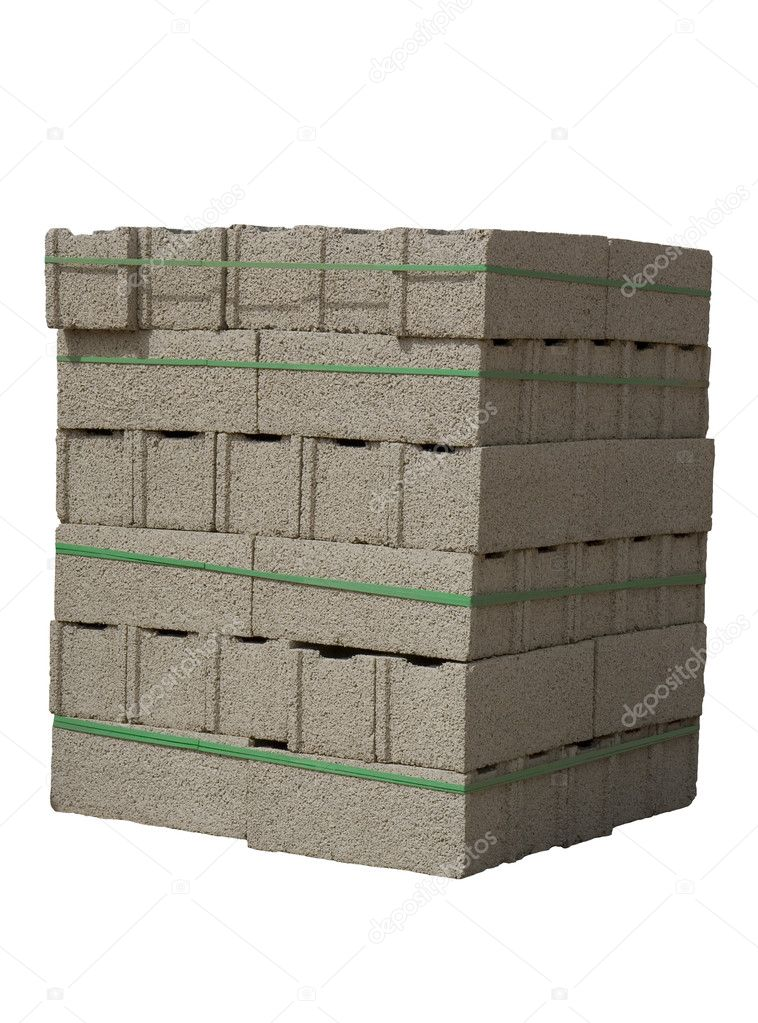 Stack of cinder blocks ( concrete masonry units ) isolated on white — Stock Photo #2647660