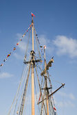 Masts of a sailing ship — Stock Photo