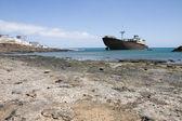 Zerstörte Schiff auf lanzarote — Stockfoto