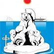 Polar bears in north pole — Vector de stock