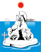 Polar bears in north pole — Stock Vector
