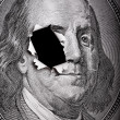 Break of portrait of Benjamin Franklin form 100 — Stock Photo