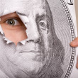 Portrait of Benjamin Franklin with living eye - Stock Photo