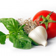 Basil, garlic, tomato — Stock Photo