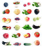Vegetables, fruit & berry set — ストック写真