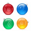4 colors christmas balls — Stock Vector
