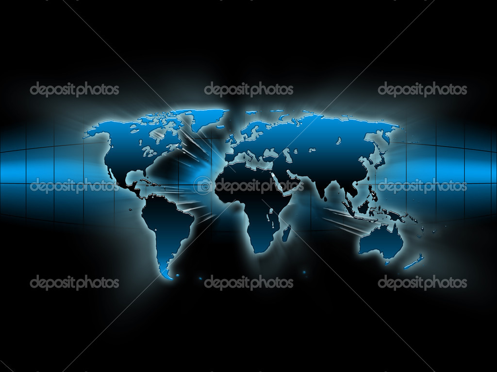 Abstract blue map of the world on a black background — Stock Photo #2169600