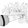 Hand drawn microphone — Stock Vector