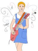 Young guitarist — Stock Vector