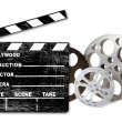 Stock Photo: Empty Hollywood Film Canisters and Clapp