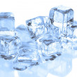 Cool Ice Cubes Melting on a White Refle — Stock Photo