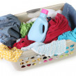 Dirty Clothes in a Laundry Basket Waitin — Stock Photo