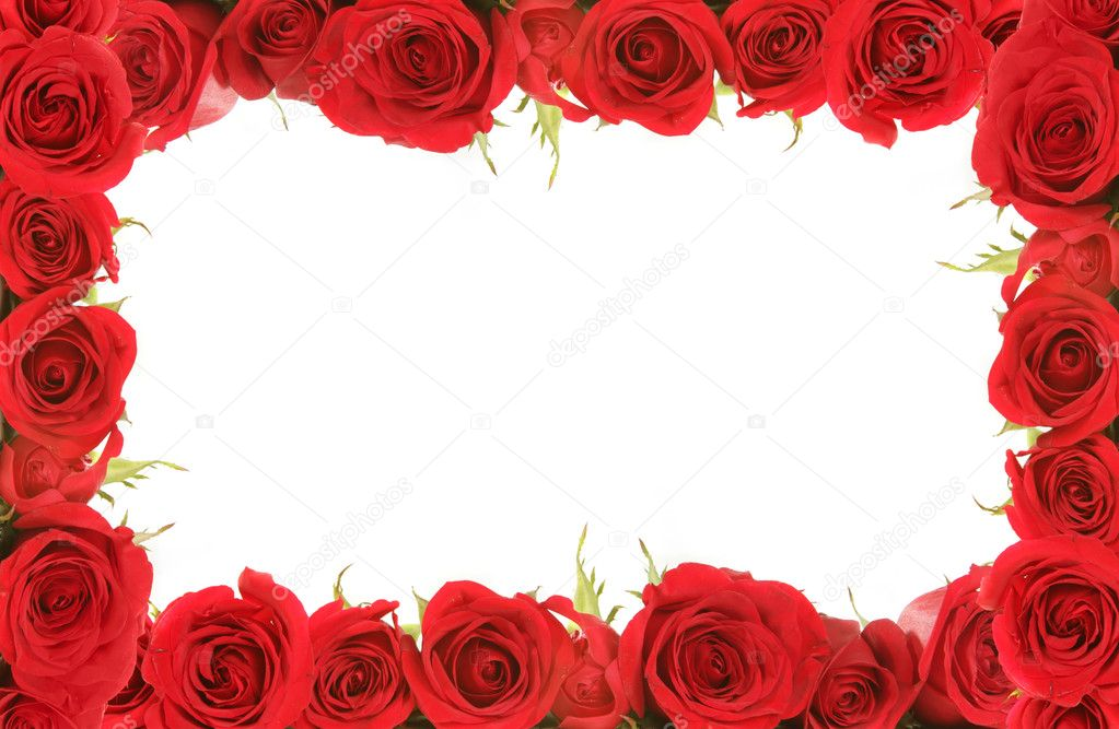 Valentine or Anniversary Red Roses Framed Around Blank Message Space for Your Text or Image — Stock Photo #2160472
