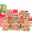 Gingerbread Family at Christmas Time — Stock Photo