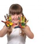 Happy Preschool Child Finger Painting — Stock Photo