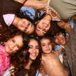 Stock Photo: Family of 6 Happy Kids Smiling Overhead