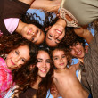 Family of 6 Happy Kids Smiling Overhead — Stock Photo #2204601