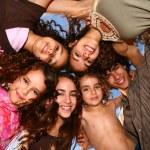 Family of 6 Happy Kids Smiling Overhead — Stock Photo