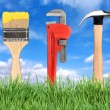 Home Improvement Tools Paintbrush, Pipe - Stock Photo