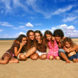 6 Happy Brothers and Sisters Smiling Out — Stock Photo