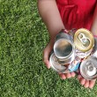 Aluminum Cans Crushed For Recycling - 图库照片