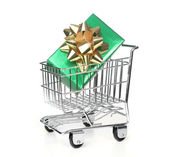 Shopping Cart With Wrapped Holiday Gift — Stock Photo