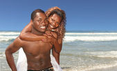 African American Couple Smiling on the B — Stock Photo