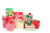 Pretty Christmas Gifts Wrapped up on Whi — Stock Photo