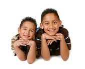 2 Hispanic Young Brothers Smiling — Stock Photo