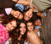 Family of 6 Happy Kids Smiling Overhead — Stock Photo