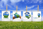 Green Energy Solution Images Hanging on — Stock Photo
