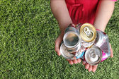 Aluminum Cans Crushed For Recycling — Stock Photo